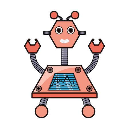 robot grande de dibujos animados con los brazos encima de icono sobre fondo blanco ilustración de vector de diseño colorido