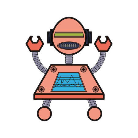 cartoon big robot with arms up icon over white background colorful design  vector illustration Illustration