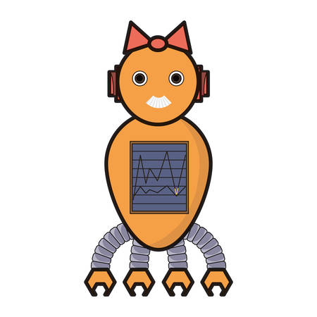 cartoon robot girl icon over white background colorful design vector illustration