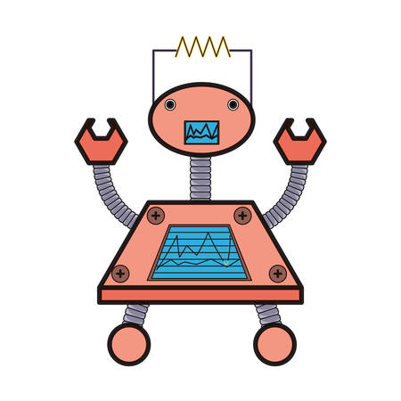 cartoon big robot with arms up icon over white background colorful design  vector illustration Ilustração