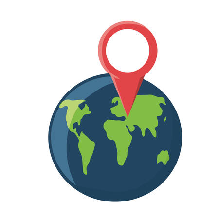 location pin on earth planet icon over white background vector illustration Illustration