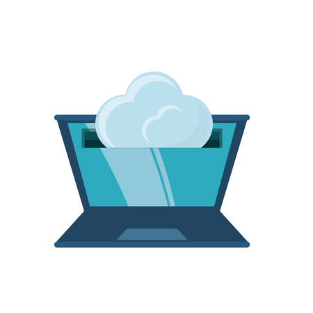 cloud and laptop computer icon over white background colorful design vector illustration