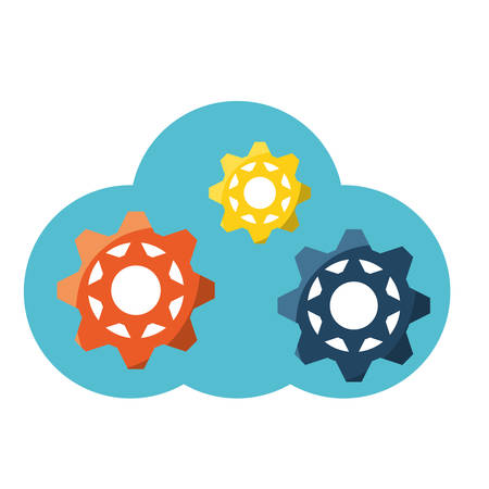 cloud storage with gear wheels icon over white background colorful design vector illustration