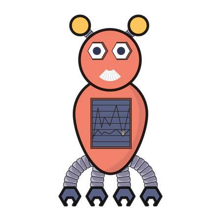 cartoon big robot icon over white background colorful design vector illustration