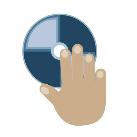hand with CD Rom icon over white background vector illustration