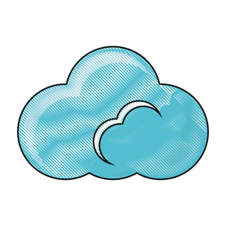 cloud icon over white background colorful design  vector illustration