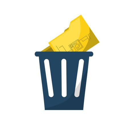trash with document folder icon over white background colorful design vector illustration Illustration