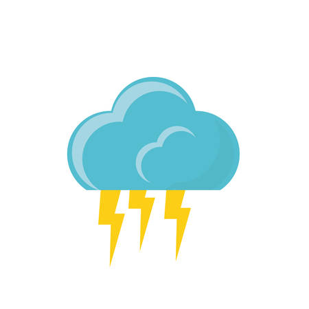 cloud and thunders icon over white background colorful design vector illustration