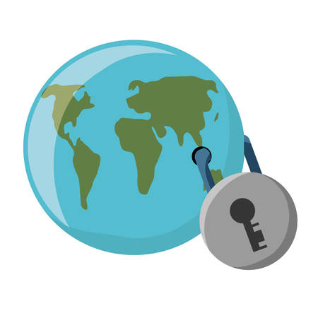 earth planet secured with a padlock icon over white background colorful design vector illustration