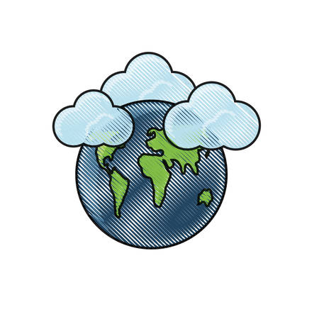 clouds on earth planet icon over white background colorful design  vector illustration Illustration
