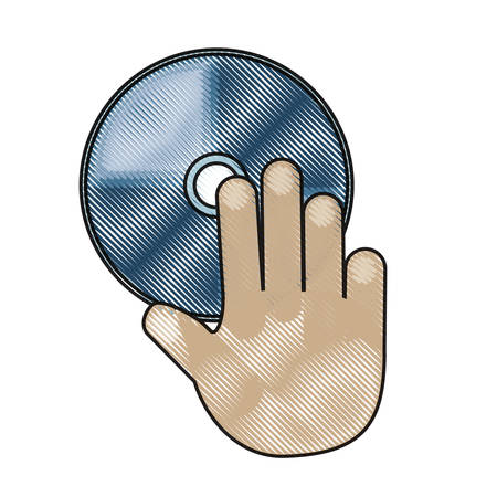 Mano con l'icona di CD Rom su sfondo bianco illustrazione vettoriale Archivio Fotografico - 90403784