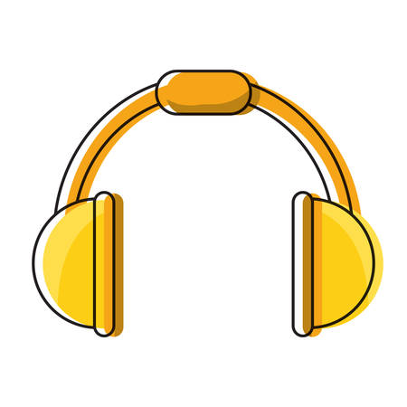 Music headphones device icon over white background vector illustration graphic design