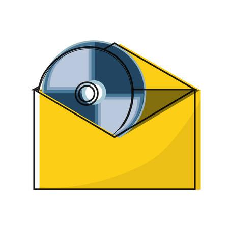 CD in envelope icon over white background. colorful design, vector illustration