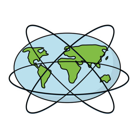 earth planet with global network icon over white background vector illustration