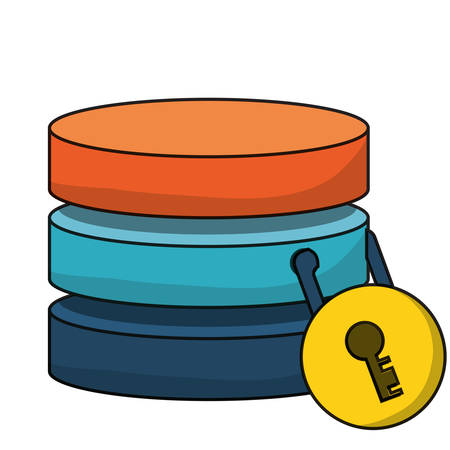 database server secured with padlock icon over white background colorful design vector illustration