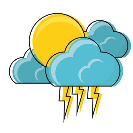 sun and clouds with thunders icon over white background colorful design vector illustration Illustration