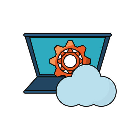 laptop computer with gear wheel and cloud icon over white background colorful design vector illustration