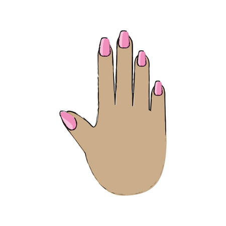 womans hand with painted nails icon over white background vector illustration