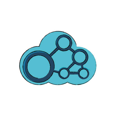 cloud storage with gear wheel icon over white background vector illustration Illustration