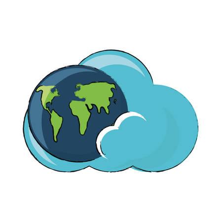 白い背景カラフルなデザインベクトルイラストの上に地球惑星のアイコンと雲