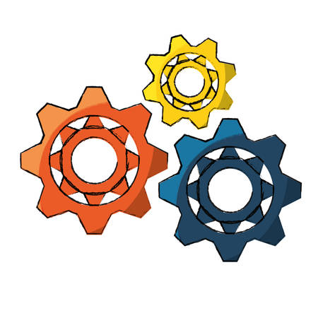 gear wheels icon over white background colorful design vector illustration