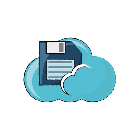 cloud storage with floppy diskette icon over white background colorful design vector illustration Illustration