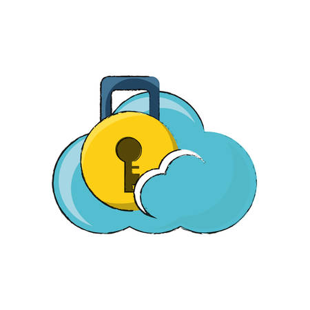 cloud storage with padlock icon over white background colorful design vector illustration Illustration