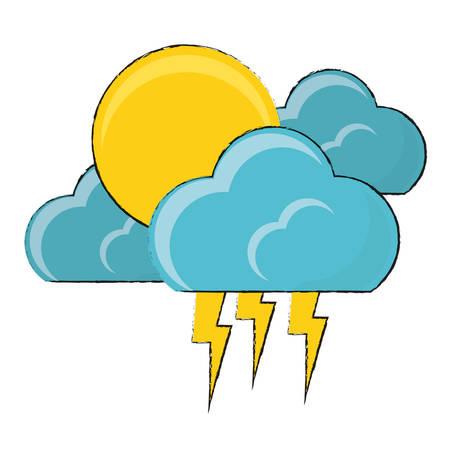 Sol y nubes con el icono de truenos sobre fondo blanco ilustración de vector de diseño colorido Foto de archivo - 90404599