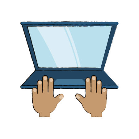 hands with laptop computer icon over white background colorful design vector illustration