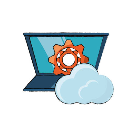 laptop computer with gear wheel and cloud icon over white background vector illustration Illustration