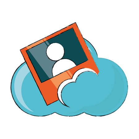 cloud storage with picture icon over white background colorful design vector illustration