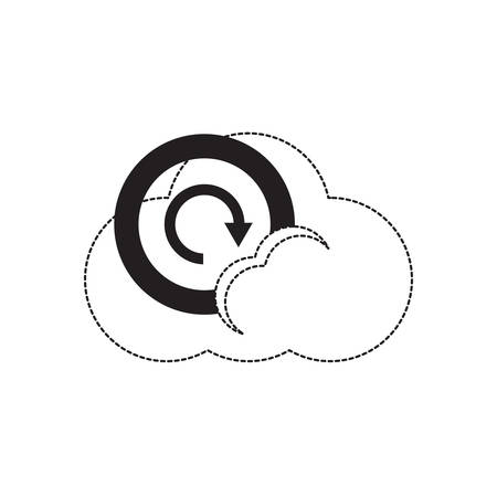 cloud storage with refresh arrow icon over white background vector illustration