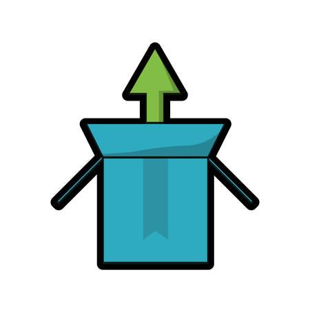 Cardboard box with upload arrow icon.