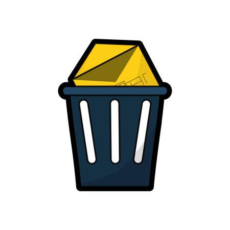 trash with envelope icon over white background colorful design vector illustration Illustration