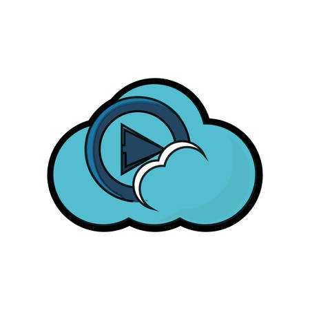 Cloud storage with play button icon over white background colorful design vector illustration Illustration