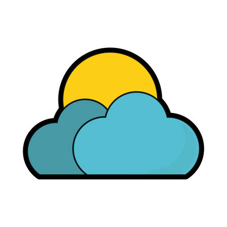 Clouds and sun icon over white background colorful design vector illustration