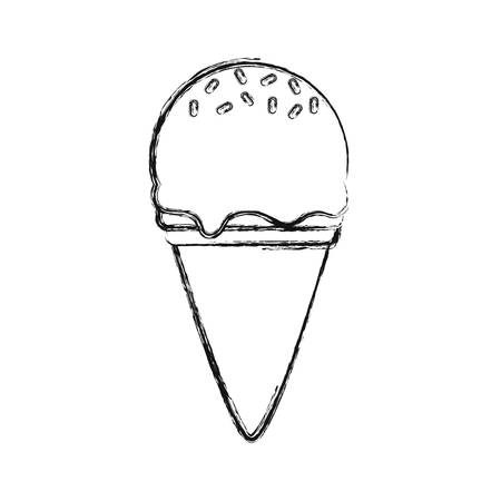 flat line uncolored  ice  cream scoops cone with sprinkles  over white backgroud  vector illustration