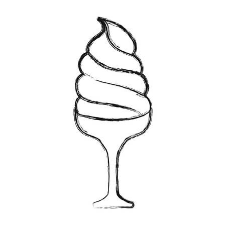 flat line uncolores ice cream  scoops in glass  over white background  vector illustration
