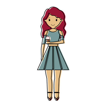 Woman with red hair an ice cream cone vector illustration