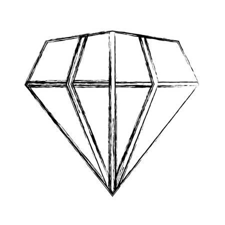 sketch of diamond gem icon over white background vector illustration