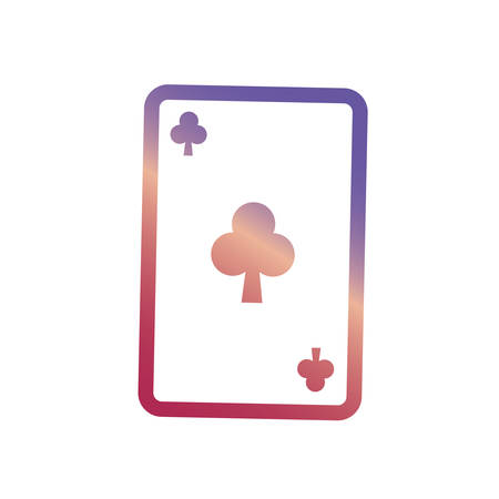 clover poker card icon over white background vector illustration