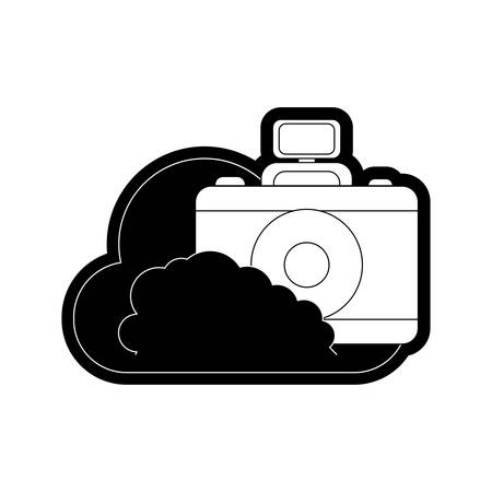 fla line  monochromatic  cloud with  camera over white background  vector illustration Illustration