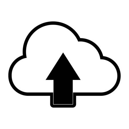 flat lie monochromatic  cloud with arrow  over  white  background  vector illustration