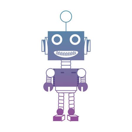 白い背景カラフルなデザインベクトルイラストの上に漫画ロボットアイコン