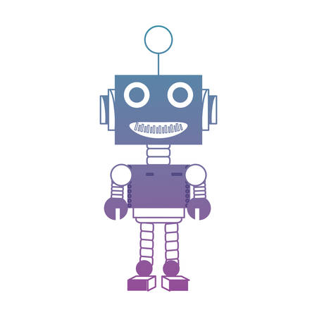 흰색 배경 위에 만화 로봇 아이콘 화려한 디자인 벡터 일러스트 레이 션 일러스트