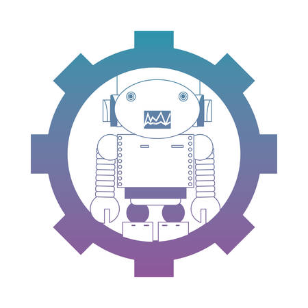 gear with cartoon robot icon over white background colorful design vector illustration