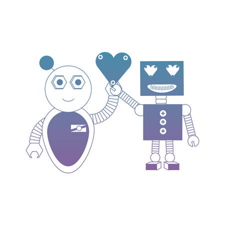 cute couple of cartoon robots with heart icon over white background colorful design  vector illustration Ilustração