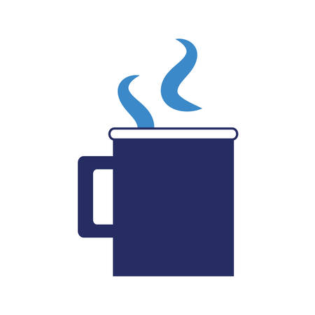 hot coffee mug icon over white background vector illustration