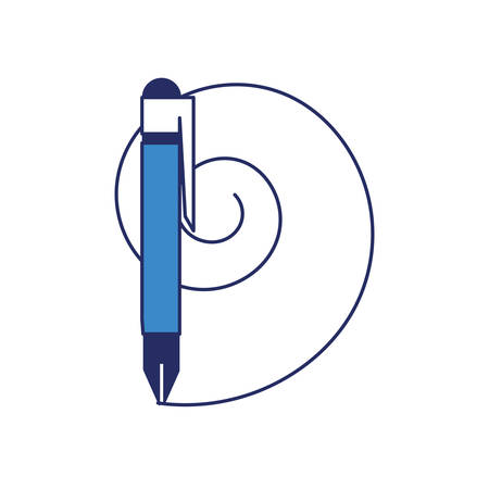 pen and line in circle shape over white background colorful design vector illustration