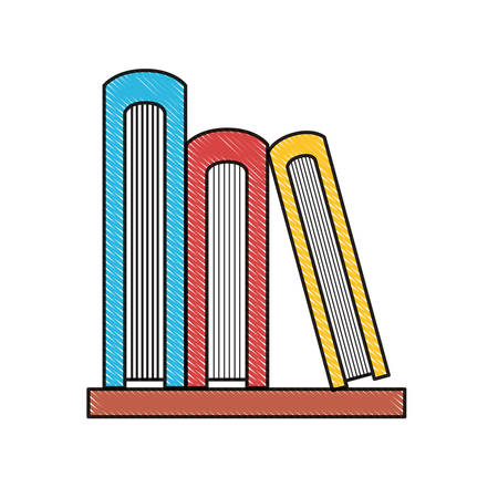 shelf with books icon over white background vector illustration